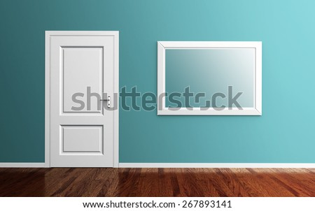Interior room with white door, picture frame and wood floor 3d render. clipping path for frame included - stock photo