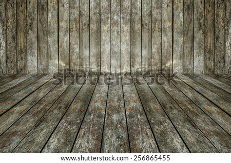 Interior room with white wooden wall and floor - stock photo