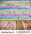 interior room with wooden floors and walls - stock photo
