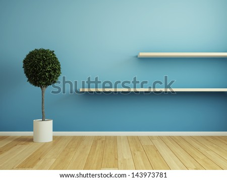 Interior room with wooden shelf - stock photo