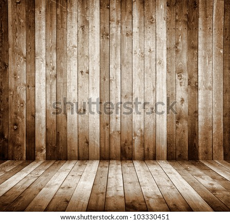 interior room with wooden tiles - stock photo