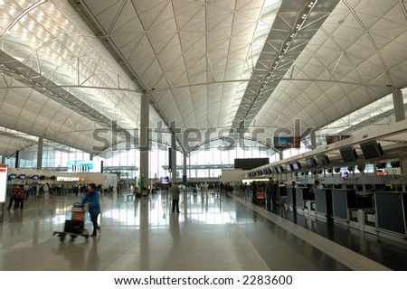Interior scene in a international airport
