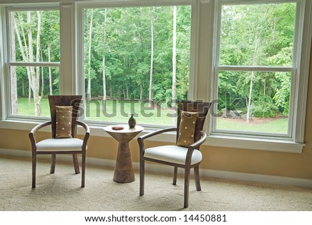 Interior Setting By Window Showing Outside View - stock photo