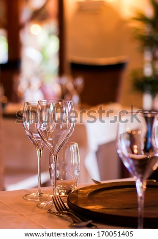 interior shot od an elegant restaurant setting - stock photo