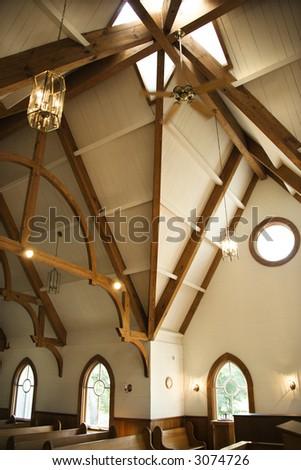 Interior shot of a church at Bald Head Island, North Carolina. - stock photo