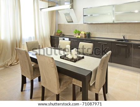 Interior shot of a modern dining room
