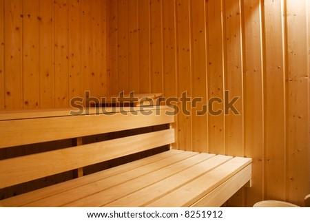 Interior shot of a sauna - stock photo