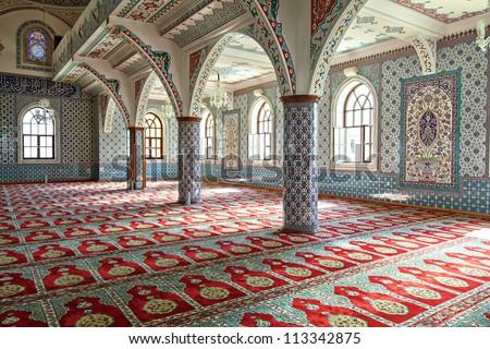 Interior shot of Manavgat mosque in Antalya, Turkey. - stock photo