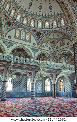 Interior shot of Manavgat mosque in Antalya, Turkey.