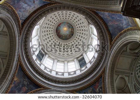 Interior shot of the dome of the Pantheon, Paris, France - stock photo