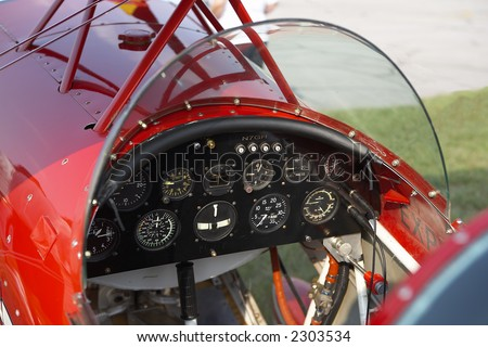 Interior shot of vintage aircraft cockpit - stock photo