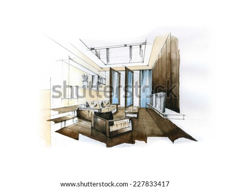 Interior Sketch Design Of Living Room Watercolor Sketching Idea On White Paper Background