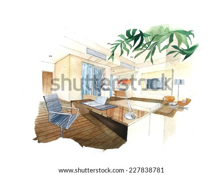 """Interior sketch design of """"Working Room"""". Watercolor sketching idea on white paper background. - stock photo"""