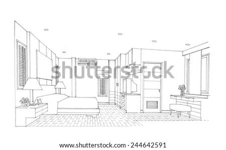 Interior sketch of bedroom - stock photo