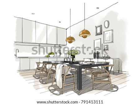 Interior Sketch Of Dining Room, Illustration Painting