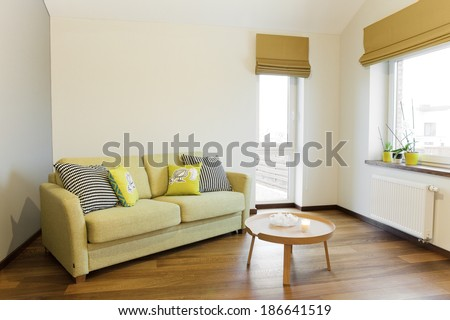Interior - sofa in a bright room - stock photo