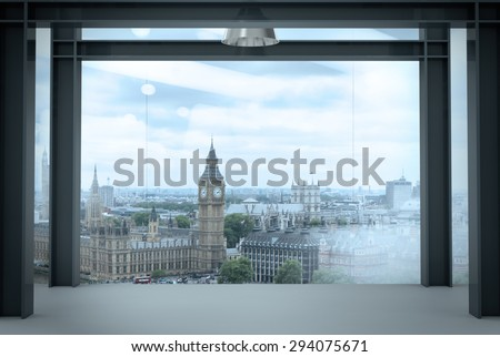interior space of modern empty office interior with london city background - stock photo