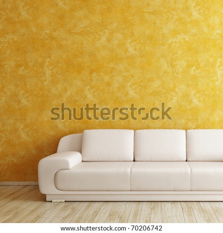 Interior square background with white sofa and orange wall - stock photo