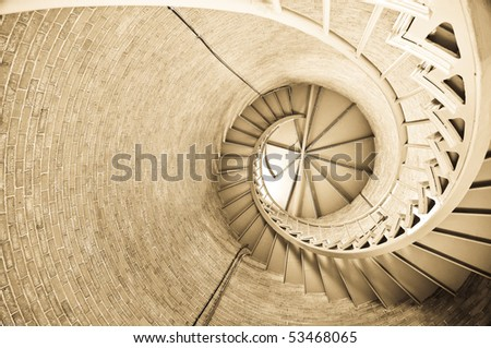 Interior steps Portsmouth NH Lighthouse - stock photo