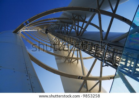 Interior structure of the Glasgow Tower with perspective - stock photo