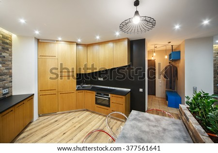 Interior studio apartments, with a kitchen and a corridor. - stock photo