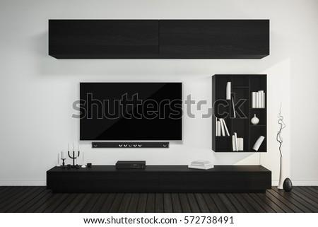 Interiorultra 4k HD Tv With Hi End Speaker Black Furniture Decorating On White