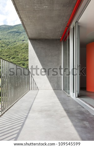 interior, view of a balcony, concrete wall