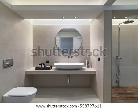 interior view of a modern bathroom in foreground the countertop washbasin  whose walls are coated of. Washbasin Stock Images  Royalty Free Images   Vectors   Shutterstock