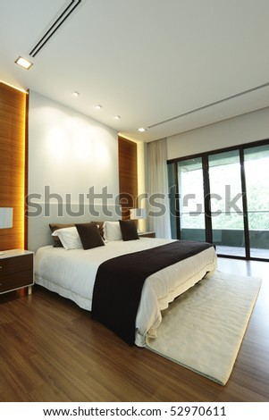 Interior view of a modern bedroom - stock photo