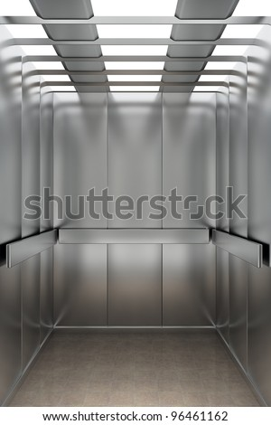 Interior view of a modern elevator facing the back wall - stock photo
