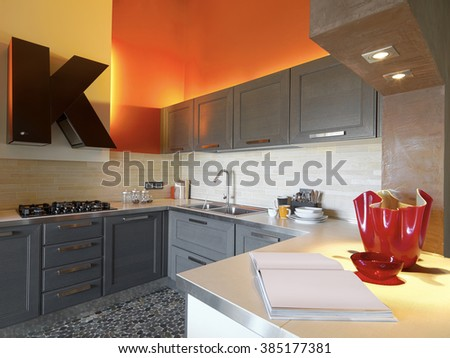 interior view of a modern kitchen in the attic room whose walls are painted of red