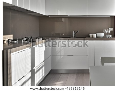 interior view of a modern kitchen with wood floor