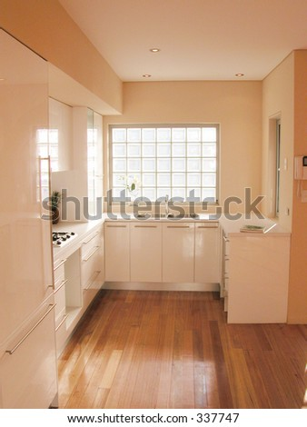 Interior view of a new kitchen renovation - stock photo
