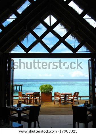 Interior View of A Sea View Restaurant - stock photo
