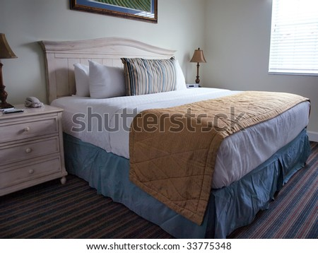 interior view of a stylish bedroom in the early morning light