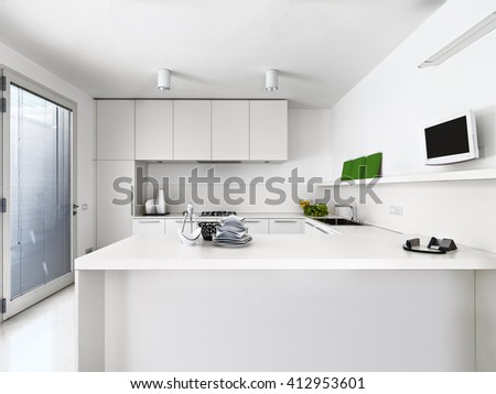 interior view of a white modern kitchen with vegetables and dishes  on the wortktop  - stock photo