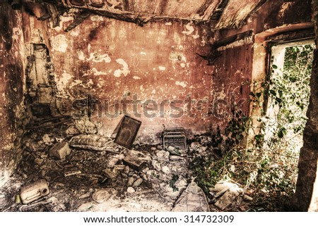 interior view of an abandoned house in hdr tone mapping effect - stock photo