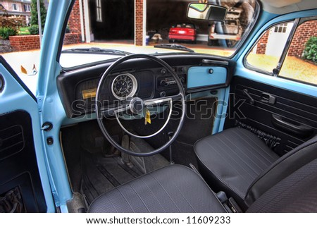 Interior view of an old antique car.