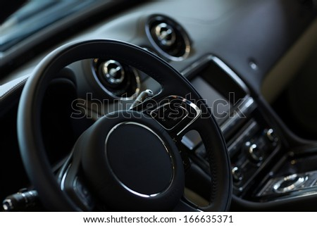 Interior view of car with black salon - stock photo