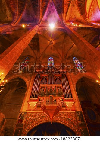 Interior view of Cathedral in Palma de Mallorca, Balearic Islands, Spain - stock photo