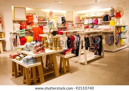 interior view of children's clothing store - stock photo