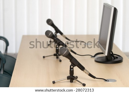 interior view of court room office conference table - stock photo