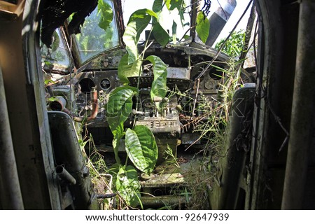 "Interior view of crashed Russian Antonov An-2 Plane in the Peruvian Amazon. Nicknamed ""Annushka"" or ""Annie"". A single-engine biplane utility/agricultural aircraft designed in the USSR in 1946. - stock photo"