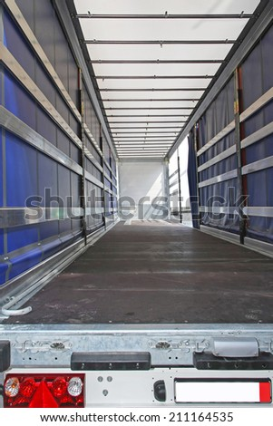 Interior view of empty semi truck lorry