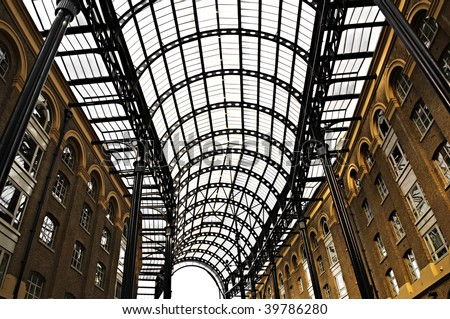 Interior view of Hay's Galleria glass roof