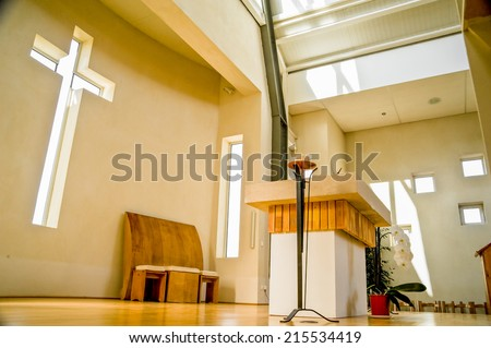 Interior view of modern church in France - stock photo