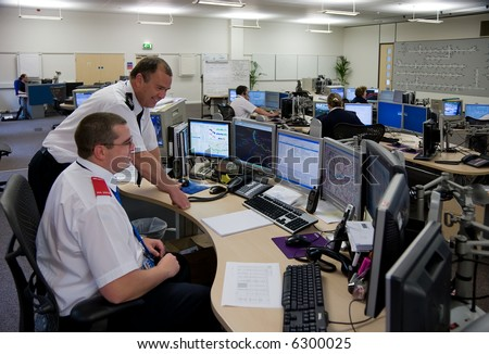 Interior view of motorway control room and technology - stock photo