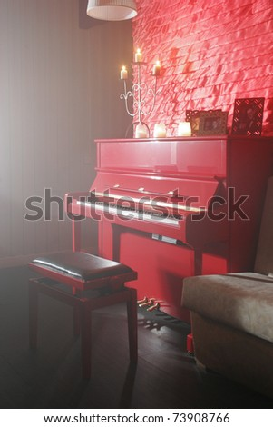 Interior View Red Piano Bench Candles Stock Photo (Royalty Free ...