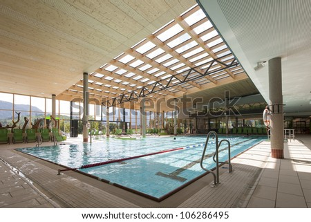interior view of swimming bath with pool with indoor laps - stock photo