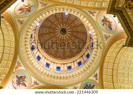 Interior view of the dome of Montreal Cathedral Marie Reine du Monde - stock photo